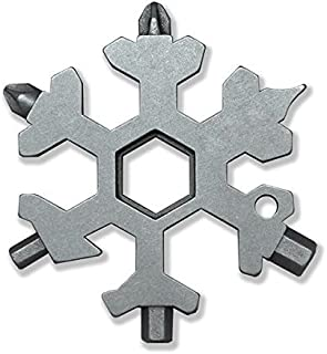 18 In 1 Incredible Multitool, Akfun Stainless Steel Snowflakes Keychain Multi-tool Screwdriver Tool for Outdoor Camping