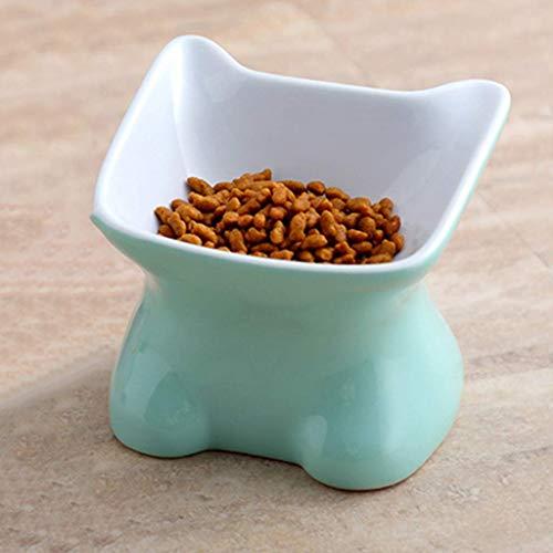 Soul hill Cat Bowl Keramik, Tierfutter Werkzeuge, Cute Pet Katzenfutter Schalen, Haustier-Wasser-Schüssel, rutschfeste Unterseite, 4.53in * 4.25in * 3.82in (Color : Green)
