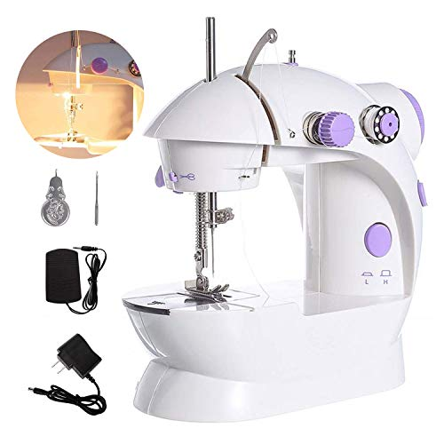 Electric Mini Sewing Machine Dual Speed Portable Sewing Machine for Beginner Crafting DIY Tool Set fit for Household Travel
