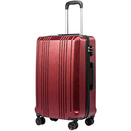 Coolife Luggage Suitcase PC+ABS with TSA Lock Spinner Carry on Hardshell Lightweight 20in 24in 28in (wine red, S(20in_carry on))