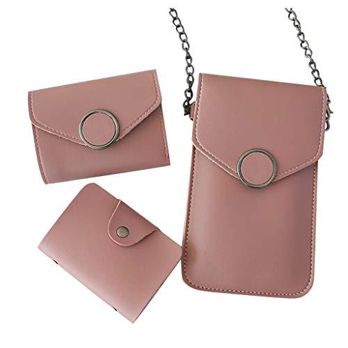 3PCS Universal Handy Umhängetasche, 2 in 1 Doppelschicht Handtasche Geldbörse Handy Tasche Touchscreen Funktion Leder Mobile Bag Protective Case mit Straps/Brieftasche/Kartentasche (Wein)