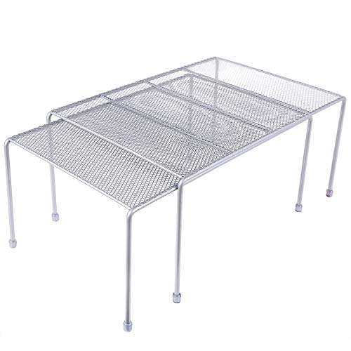 Expandable Stackable Kitchen Cabinet and Counter Shelf Organizer,Kitchen Shelves, Cabinet Organization,Silver