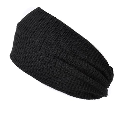 Headband Hair Band Head Wrap for Fashion Men and Women Ear Warmer Black