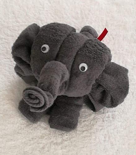 Elefant als Handtuch-Tier in anthrazit, Handtuchfigur