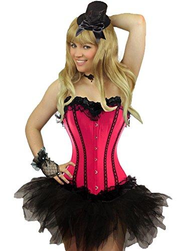 Yummy Bee - Corset Tutu Jupe Burlesque Costume Déguisement Lingerie Luxe Cancan Soirée entre Filles - Grande Taille 34-54 (Women: 38, Rose+Tutu)