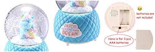 Musical Unicorn Snow Globe for Kids, 100mm Resin Glitter Music Box with Multiple Tunes, Gift for Girls - Blue 9