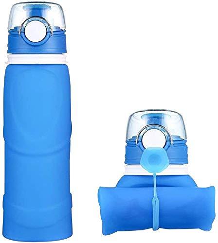 YOMYM Botellas de agua de silicona plegables-750ML, grado médico, sin BPA, se puede enrollar, botellas de agua plegables a prueba de fugas para deportes y exteriores, Azul