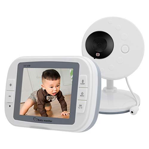 Monitor de video para bebés, 3.5 pulgadas HD de 2 vías, visión nocturna, monitor de video inalámbrico, cámara de seguridad para el hogar para interiores de 2.4G para bebés, mascotas, ancianos(UK)