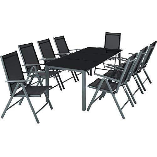 TecTake Aluminium 8+1 Salon de Jardin Ensemble sièges Meubles Chaise Table en Verre - diverses Couleurs au Choix - (Gris foncé | No. 402164)
