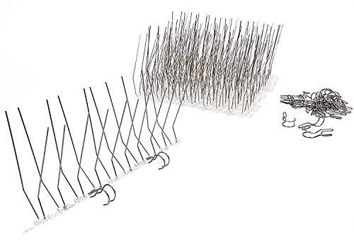 PP Serie Taubenabwehr Dachrinnenschutz 3 Meter Set (12 Leisten à 25 cm) + Zubehör 24 Befestigungsclips