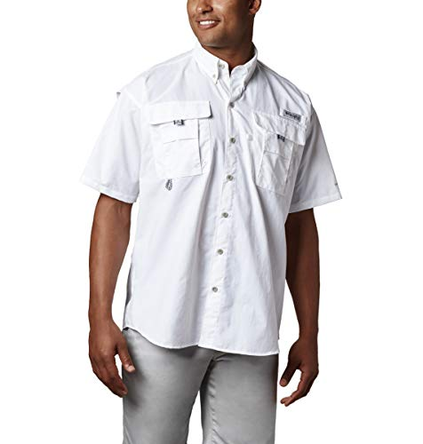 Columbia Men's PFG Bahama II Short Sleeve Shirt, White, Medium