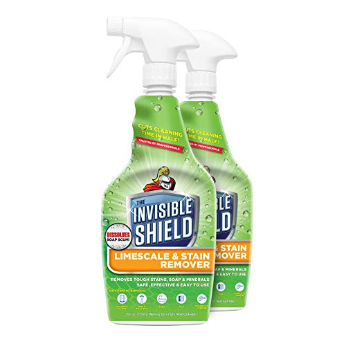 Invisible Shield Limescale & Stain Remover 25 fl. oz - Spray Away Hard Water & Soap Scum by UNELKO- Clean-X Invisible Shield -2 pack