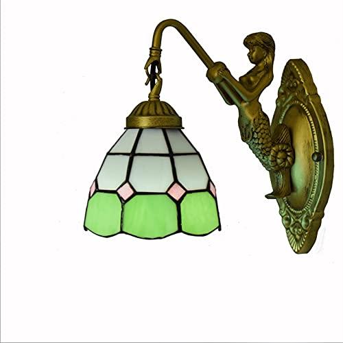 Lampara de Pared Dormitorio Estilo Tiffany Luz de Pared para Interior Aplique Pared Salón Patrón de Verde Vidrio Pantalla de Lámpara para Niños, Sala de Estar, Cocina, Pasillo, Restaurante E27