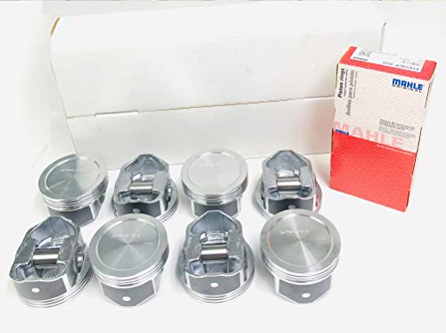 Set of (8) Pistons & MOLY Rings Kit compatible with Chevy 5.3L LS1 Silvolite Hypereutectic Pistons 1999-2003 DISH TOP VIN