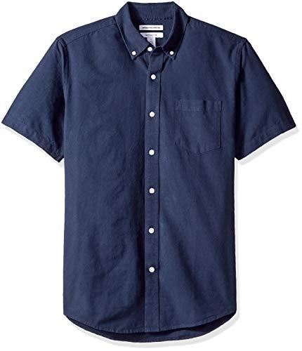Amazon Essentials (アマゾン エッセンシャルズ) メンズ レギュラーフィット 半袖 ポケット オックスフォードシャツ ネイビー M