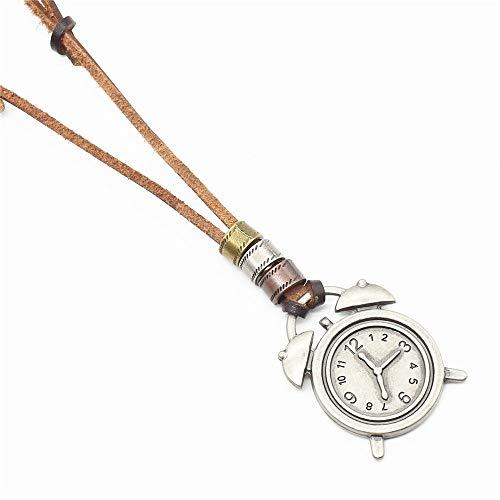 DGSDFGAH Collar De Mujer Exquisito Reloj Vintage Encanto Elegante Simple Colgante De Cuero Collar Largo Suéter Cadena Moda Joyería Decoración Accesorio Regalo