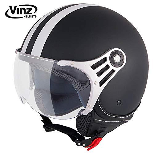 Vinz Rollerhelm Jethelm Fashionhelm | Roller Jet Helm mit Streifen | in Gr. XS-XL | Motorradhelm mit Visier | ECE zertifiziert (M, Matt Schwarz)