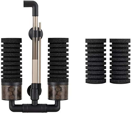 Hygge 水槽 フィルター スポンジ 超静か アクアリウムエアーポンプに接続 水槽面貼り付け型(吸盤) 生物濾過 物理濾過 ろ過装置 ツイン ブラック S サイズ 対応水量:35L ~150L