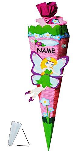 alles-meine.de GmbH BASTELSET Schultüte  Elfe & Schmetterling  - 85 cm - incl. Namen - mit / ohne Kunststoff Spitze - Zuckertüte zum selber Basteln - 6 eckig / rosa - Mädchen -..