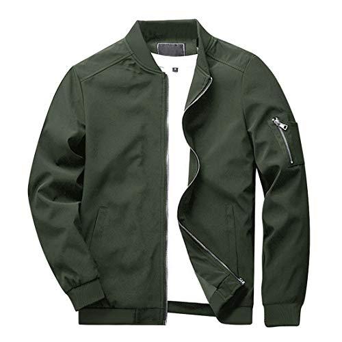 KEFITEVD Blouson Herren Jacke Männer Pilotenjacke US Army Jacke Bomber Jacket Motorradjacke Stehkragen Windjacke Herbst Übergangsjacke Dunkeloliv XL (Etikett: 2XL)