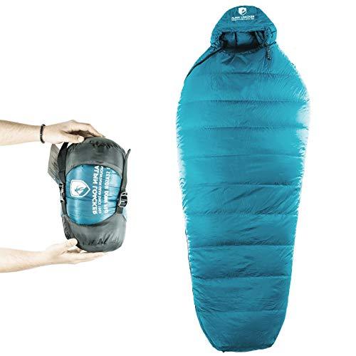 Alpin Loacker Ultralichte donsslaapzak, met donsvulling, geschikt voor 3 jaargetijden, kleine pakmaat voor kamperen en outdoor