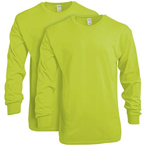 Gildan Men's Heavy Cotton Long Sleeve T-Shirt, Style G5400, 2-Pack, Safety Green, Medium