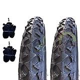EBA12MBE - Juego de 2 tapacubos negros 12 1/2 x 1,75 x 2 1/4 (47-203) + cámaras de neumáticos de goma para bicicleta de montaña para niño