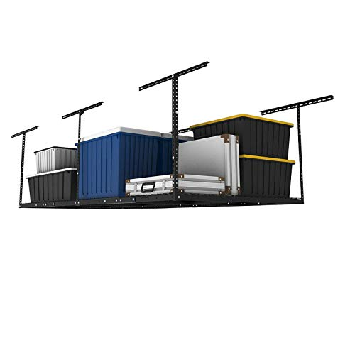 FlexiMounts 4' x 8' Adjustable Height Overhead Storage Rack, Black - $152.99