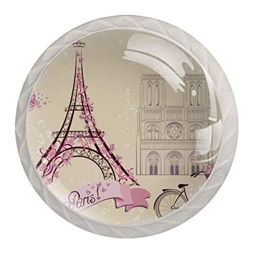 Pomos de Blanco Cristal Bicicleta Vintage Paris Torre Eiffel RedondoTiradores de Muebles 4 Piezas 35mm Hecho a Mano Pomos para Alacena Baño Cocina Gabinetes Pomos Para Armarios Infantiles