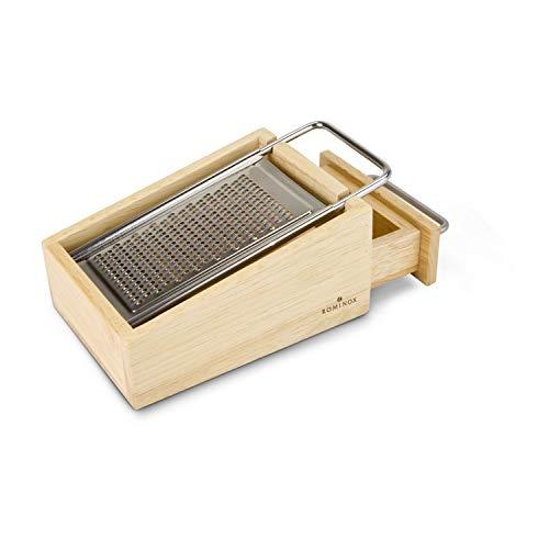 ROMINOX Geschenkartikel Käsereibe // Parmo – 3-teilige Parmesanreibe aus Holz, mit Auffang- und Vorratsbehälter, herausnehmbare Edelstahlreibe; Neues Modell 2020; Maße: ca. 7 x 10.6 x 15 cm