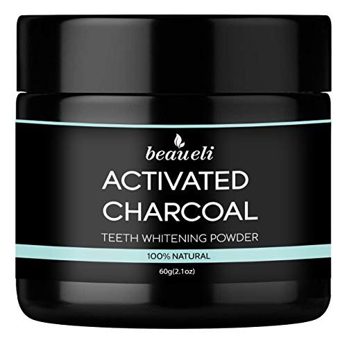 Beaueli Teeth Whitening Powder - Natural Activated Coconut Charcoal Carbon Tooth Whitener - Effective Remover Tooth Stains for Sensitive Teeth (2.1 Oz)