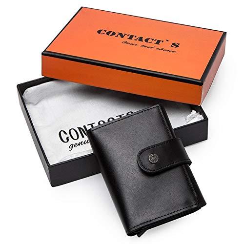 Business Card Holder Business ID Card Holder Crazy Horse Leather Men's Wallet RFID Credit Card Holder Aluminum Case - Black Box