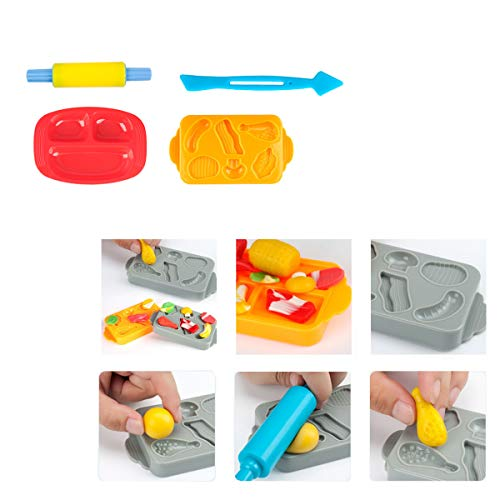 Pandapia Kitchen Creations Play Dough Tools, Playdough Cooking Food Playsets Accessories Cutters for Toddler Toys