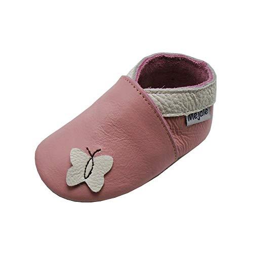 Mejale Weiche Sohle Leder Babyschuhe Lauflernschuhe Krabbelschuhe Kleinkind Kinderschuhe Hausschuhe Karikatur Schmetterling(6-12 Monate, Rosa,M)