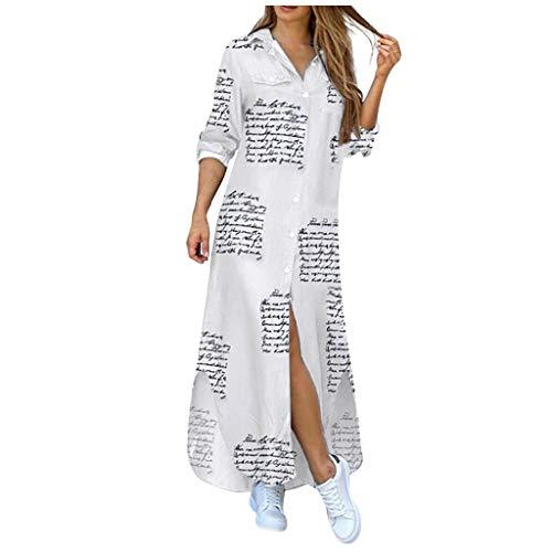 MORCHAN Robe Femme Mode bohème Bouton Poche Robe à Manches Longues été Casual Jupe de Plage(Blanc/Small)