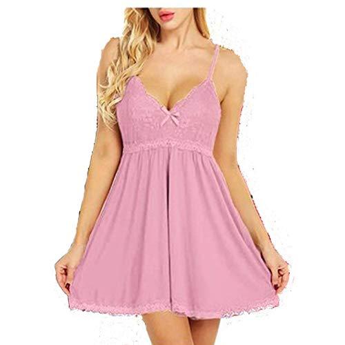 Tallas Grandes S-7Xl Ropa De Dormir para Mujer Camisón Homewear Mujeres Camisón De Encaje Grande Camisón Vestido Elástico Ropa De Dormir Lencería Sexy 5XL Rosa