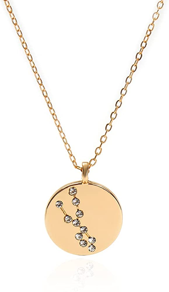 Golden necklace 12 constellations diamond astrology necklace 18k gold plated chain exquisite personality simple jewelry