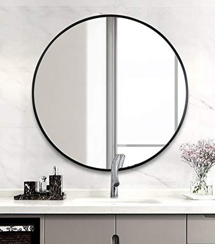 Runder Spiegel, Wandspiegel mit Metallrahmen, Dekorative kreis kosmetikspiegel für bad, schlafzimmer und wohnzimmer, Schwarz