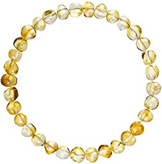 Adult Baltic Amber Bracelet (Unisex, Honey, 7.5 Inches) Lab-Tested, 100% Certified Baltic Amber - All Natural Pain Relief & Anti-Inflammatory for Migraine, Sinus, Arthritis & More