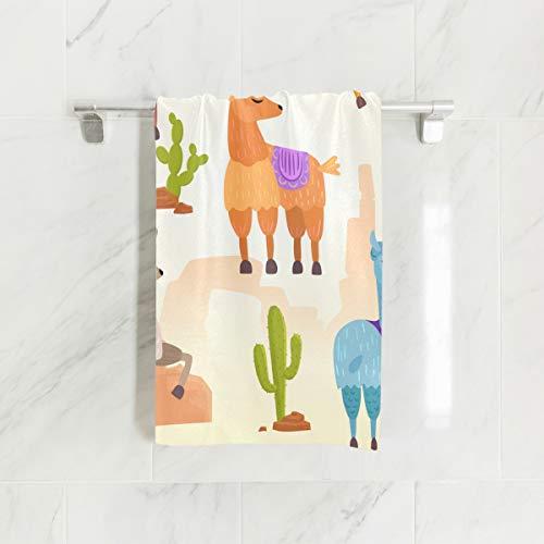 MNSRUU Toalla de mano, linda Vector Alpaca Lama y Cactus toallas de mano para baño, gimnasio, playa y spa