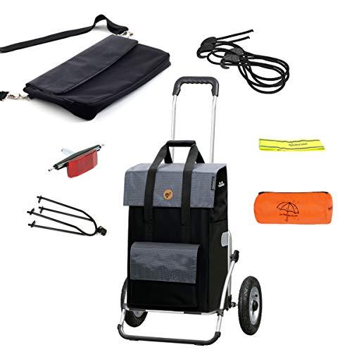 Andersen Einkaufstrolley Royal XXL luftbereift mit Einkaufstasche Vektor 43 Liter schwarz,Regencape,Fahrrad-Anhängerkupplung,extra Laptoptasche