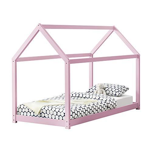 [en.casa] Cama para niños de Madera Pino - 200x90cm - Cama Infantil - Forma de casa - Color Rosa Lacado Mate