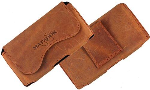 MATADOR Echt Leder Tasche Hülle Hülle Handytasche Gürteltasche Quertasche für Fairphone 2 mit verdecktem Magnetverschluß & Gürtelschlaufe in (Crazy Rost Braun)