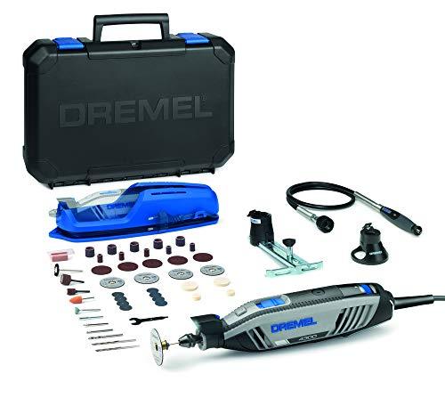 Dremel 4300 Multifunktionswerkzeug (175 Watt, Set mit 3 Vorsatzgeräten, 45 Zubehörteilen, Variable Drehzahl 5.000.-35.000 U/min zum Schneiden, Schnitzen, Bohren, Gravieren, Schmirgeln)