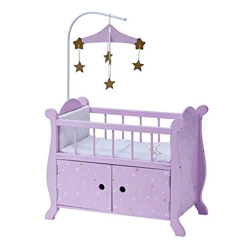 Olivia's Little World - Baby Doll Wooden Furniture with Beddings, fits up to 18 inches Doll, Twinkle Stars Princess Nursery Crib Bed with Storage Cabinet , Purple Stars