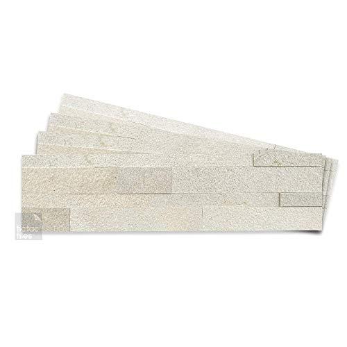 Tic Tac Tiles Peel and Stick Self Adhesive Removable Stick On Kitchen Backsplash Bathroom 3D Stone Tiles (1-Pack) (Stone Beige)