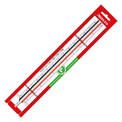 Aristo Dreikant Maßstab (Reduktion 1:2,5 :5 :10 :20 :50 :100, Kunststoff, 30 cm lang) für Ingenieure und Maschinenbau - F