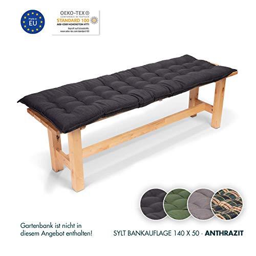Homeoutfit24 Sun Garden 1-Stück Bankauflage Sylt in Anthrazit Sitzkomfort auf höchstem Niveau, hochwertiges Polsterkissen für Gartenmöbel, 140 x 50 x 7 cm