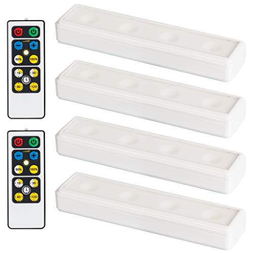 Brilliant Evolution Wireless LED Under Cabinet Light 4 Pack with 2 Remote Controls | Battery Powered Lights | Kitchen Under Cabinet Lighting | Touch Light | Stick On Lights | Push Light