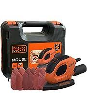 Black+Decker Driehoekige slijper Mouse (55 Watt, 133 x 95 mm, met stofzuigeradapter, voor slijpen/polijsten, klittenbandfixsysteem, incl. 6 schuurpapier + 12 reserveschuurpapierpunten, koffer) BEW230K